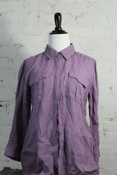 Theory Women's Purple Button Down 100% Ramie Blouse L/G #Theory #ButtonDownShirt #Casual
