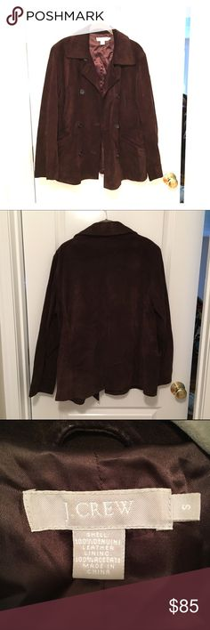 J crew brown leather(feels like suede) peacoat Jcrew brown 100% leather peacoat style jacket, size Small. Looks and feels like Suede. It is a heavy. This runs big, definitely more M/L. J. Crew Jackets & Coats Pea Coats