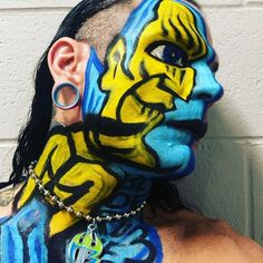 Jeff Hardy Facepaint yellow blue faces Jeff Hardy Face Paint, Wwe Jeff Hardy, The Hardy Boyz, Shawn Michaels, Cool Face, Creatures Of The Night, Wwe Superstars, Wwe Stuff, Wrestling