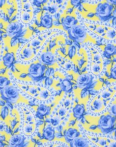 "TT - 45"" Wide, ""Tweet Rose"" Blue Floral Print on Yellow"