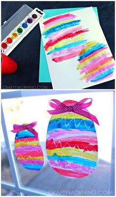 Crayon Resist Easter Egg Window Decorations - Pretty Easter craft for the kids to make! CraftyMorning.com