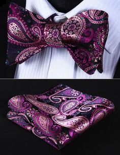 BowTie - Classic Pink Green Paisley Silk Self Bow Tie and handkerchief set