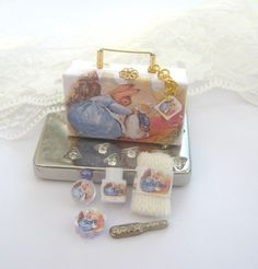 dollhouse miniature Beatrix Potter toiletries in a case for the dollhouse baby
