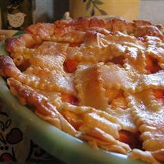 Peach Pie the Old Fashioned Two Crust Way I just made this with fresh peaches bought at a fruit stand in Penticton, British Columbia. Best pie I've ever eaten hands down.