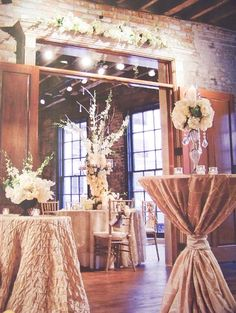 several types of tables for the reception and dinner