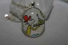 Dr. Seuss Book Necklace Green Eggs and Ham Literary Jewelry