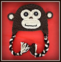 Crochet Monkey Hat with Earflaps. Free shipping within the continental US. $25.00, via Etsy.