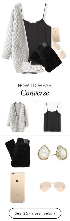 """""""Finally got these white converse"""" by tinyblueowls on Polyvore featuring MANGO, Nobody Denim, Converse, Ray-Ban and Kendra Scott"""