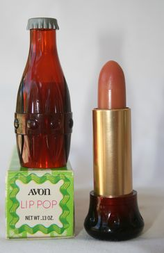 Avon Lip Pop Cola Made oz, plastic amber tube and cap, Cola (Amber case), Strawberry (Pink Case) and Cherry (Light red case). These are a lip pomade. Also came in a solid red Plastic which is rare. Vintage Makeup, Vintage Avon, Vintage Perfume, Vintage Beauty, Vintage Toys, Retro Vintage, Avon Lip Gloss, Avon Lipstick, Avon Perfume