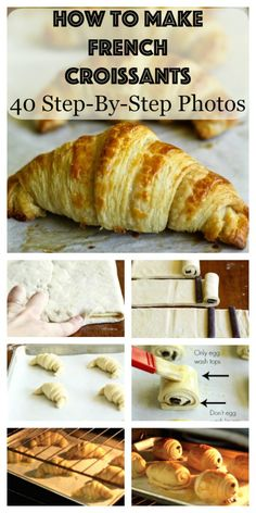 Learn how to make the most unbelievable and authentic French croissants and chocolate croissants from scratch with over 40 step-by-step photos! - Someday I want to learn how to make these! Homemade Croissants, Chocolate Croissants, Making Croissants, Homemade Breads, Pastry Recipes, Baking Recipes, French Food Recipes, Scones, French Croissant