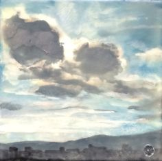 from behind the cloud  6x6  original encaustic by DaisySkyStudio