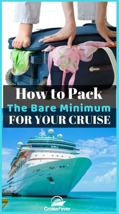 """A lot of first time cruisers tend to """"overpack"""" on their cruise. Here are some tips for packing the bare minimum on your cruise vacation. How do you like to pack for your cruise? Let us know in the comments. #cruisefever #cruisepacking #packforcruise #suitcase #carryon"""