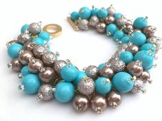 Turquoise and Taupe Pearl Bracelet Bridesmaid Jewelry by KIMMSMITH
