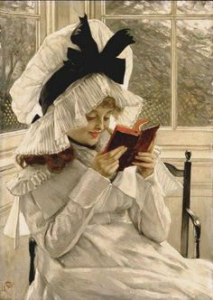 Somewhere under that hat hides a happy reader. Woman Reading a Book painting. Artist: James Tissot