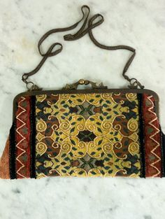 Vintage Beaded Evening Purse Gold Olive Maroon by Nostalgicats, $40.00