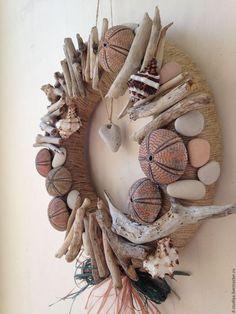 Marina style wreath / Подвески ручной работы. Декоративный венок №10. Светлана. Интернет-магазин Ярмарка Мастеров. Морской стиль, декор в морском стиле