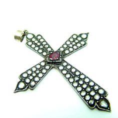 Diamant Kreuz Anhaenger in 333 Rotgold verziert mit 2,20 Karat Rosendiamanten | eBay