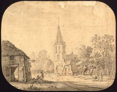 Village of Helvoirt - P. Barbiers - ca. 1834, Size inches 8.9 x 7.0, untitled. View of the village and church of Helvoirt, a Dutch town in the province of Noord/Brabant near ´s-Hertogenbosch. Original washed ink drawing on laid paper. Very good, given age.  Made by 'Pieter Barbiers' after own design. Pieter II Barbiers (1798-1848) or IV was a 19th-century painter from the Northern Netherlands, son of Pieter Bartholomeusz Barbiers (III) and Maria Geertruida Snabilie.