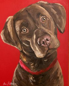 Chocolate Lab art print from original chocolate labrador canvas painting by HippieHoundUSA on Etsy