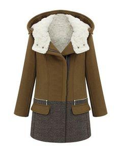 Women Hooded Fleece Inner Warm Winter Woolen Long Coat