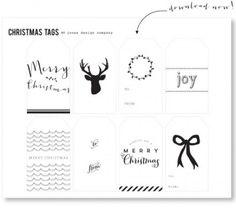 black and white freebie gift tags complements of jones design company (you will have to sign-up with the site) Christmas Gift Wrapping, Christmas Tag, Christmas Decor, Christmas Ideas, Free Printable Gift Tags, Free Printables, Creative Gift Wrapping, Wrapping Gifts, Wrapping Ideas