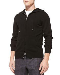 N2SXV Neiman Marcus Cashmere/Cotton Zip Hoodie, Black