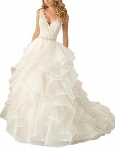 Mollybridal Deep V neck Ruffles Lace Wedding Dresses Organza Ball Gown White 2