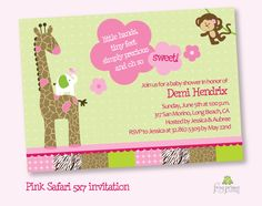 Pink Jungle Safari Baby Shower Invitation DIY Custom Printable. $12.50, via Etsy.
