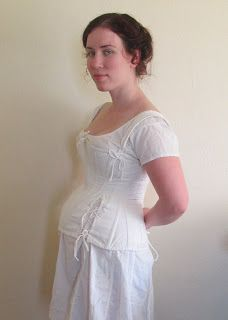 A pregnancy corset! This is a special type of corset designed to support (not squeeze) the belly, providing bust shaping and back relief. Maternity Wear, Maternity Fashion, Maternity Dresses, Maternity Clothing, Historical Costume, Historical Clothing, Historical Fun, Regency Dress, Regency Era