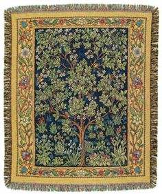 Garden of Delight Throw EXCLUSIVE! Brimming with life - abundant flowers, lush foliage, birds - this intricately detailed hanging is reminiscent of the fine tapestries which warmed the wall of ancestral homes in the Celtic lands. Bordered in a rich shade of gold, replete with greens, reds and blues, it is sure to enliven any decor. Inspired by the masterwork of William Morris, a founder of the Arts and Crafts movement, which advocated a return to medieval design and craftsmanship. 100%…