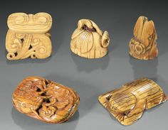 FIVE CARVED IVORY PENDANTS, CHINA, MING DYNASTY, 17TH CENTURY