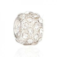 Pandora Sterling Silver Charms Silver And White Bead With Stone