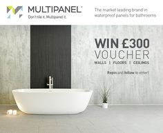 ***GIVEAWAY*** To celebrate the launch of the new Multipanel brochure, we are giving one lucky winner £300 of Multipanel vouchers. Create a bathroom you love with Multipanel walls, floors & ceilings.  To enter this competition, Repin & Follow us!   Oh, good luck   Terms & conditions: http://www.multipanel.co.uk/home/terms-and-conditions