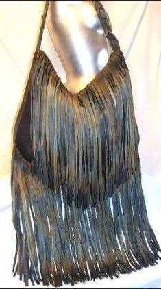 Designer Handbag, Custom Leather Fringed Purse,Hobo Bag in Denim Colored Leather, My Old Blue Jeans Handmade by Debbie Leather via Etsy