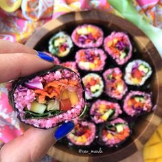 """#ShareIG Raw Vegan Pink Sushi  Hope you don't mind a close up ☺️ I actually added some things to the """"sushi"""" rice to help make the cauliflower stick together and taste heavenly  You can definitely eat the rice on it's own if you don't feel like making sushi  Ah! I just love making low fat raw vegan food.. it's so fun!! I seriously think it's so much easier than cooking   Recipe is in the comments! ✌️"""