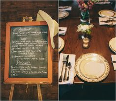 Rustic Wedding Menu Idea