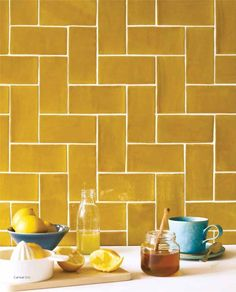 Kitchen backsplash ideas that will brighten and modernize your kitchen. with cabinets, diy for big and small kitchen - white or dark cabinets, yellow tile patterns Kitchen Wall Tiles, Wall And Floor Tiles, Kitchen Backsplash, Backsplash Ideas, Metro Tiles Kitchen, Backsplash Design, Kitchen Paint, Tile Design, Bathroom Wall