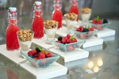Yogurt with granola and fresh fruit. Sunrise wedding