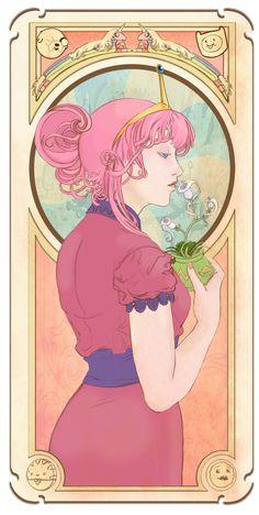 "Mucha style - ""Princess #Bubblegum"" Illustration in style of ""Alphonse Mucha"""