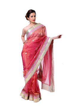 Ranas Woman Kota Tissue Rani Pink Gota Sarees