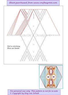 ED084 geometric mask on Craftsuprint designed by Emy van Schaik - Stitching with beads - Now available for download!