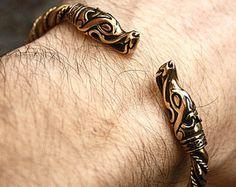Bronze & laiton loup chefs Vikings nordiques à la main Torque torsadé Bracelet sur fil