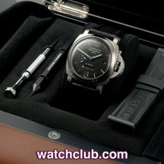 Panerai Luminor 1950 GMT - 8-Day Power Reserve REF: PAM 00233 | Year Jan 2009 - .Forming part of the 'Historic' collection, this Luminor 1950 GMT sports a black sandwich dial with linear 8-Day power reserve, visible through an impressive 2mm domed sapphire crystal. Powered by Panerai's in-house manual wind movement (cal.P.2002/1) and fitted to a black calf strap with steel Panerai pin buckle - for sale at Watch Club, 28 Old Bond Street, Mayfair, London