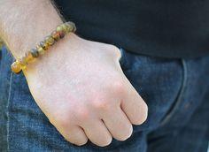 Mens Bracelet Gold Dark Brown Amber Natural Jewelry for by KARUBA