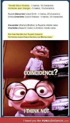 Probably not a coincidence… Harry Potter Ron and Hermione Emma Watson Estilo Harry Potter, Arte Do Harry Potter, Yer A Wizard Harry, Harry Potter Jokes, Harry Potter Universal, Harry Potter Fandom, Harry Potter Spells, Harry Potter Ships, Hogwarts