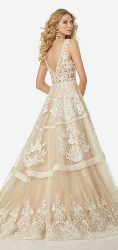 Deep V-Neckline, Full A-Line Gown with Tonal Beaded Venice Lace Appliqués on Tulle #wedding #weddingdress #weddinggown #bridedress
