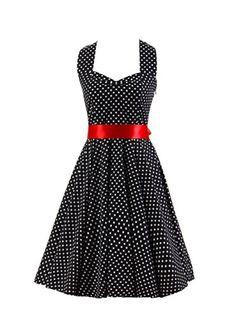 $32.99, Ensnovo Womens Retro 1950s Vintage Polka Dot Halter Rockabilly Pinup…