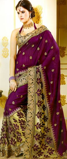Magenta and Beige Art Tussar #Silk and Net #Saree with Blouse