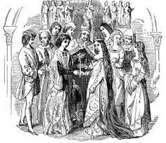 Marriage of Henry VI and Margaret of Anjou. Illustration from Old England, A Pictorial Museum edited by Charles Knight (James Sangster & Co, c Elizabethan Fashion, Elizabethan Era, Renaissance Fashion, Renaissance Fair, Italian Renaissance, Margaret Of Anjou, Marriage Images, Best Free Dating Sites, Wars Of The Roses