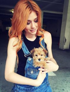 """Kat_McNamara: Overalls are useful for many things...including puppy pouches... Also - meet Sophie """